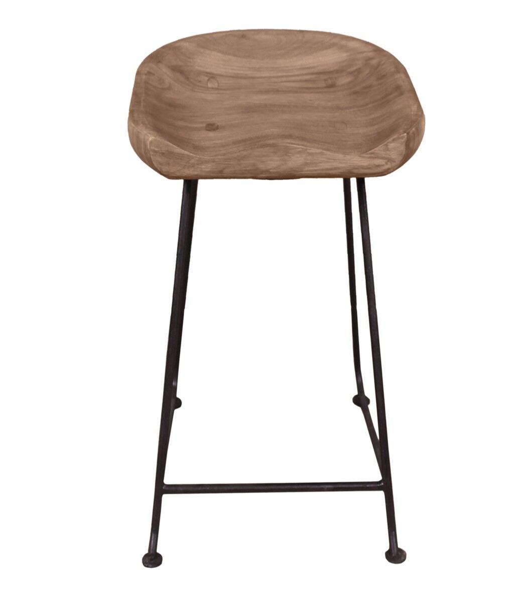 Barhocker Sitzschale Aus Akazienholz Stabiles Gestell Aus Metall Schwarz