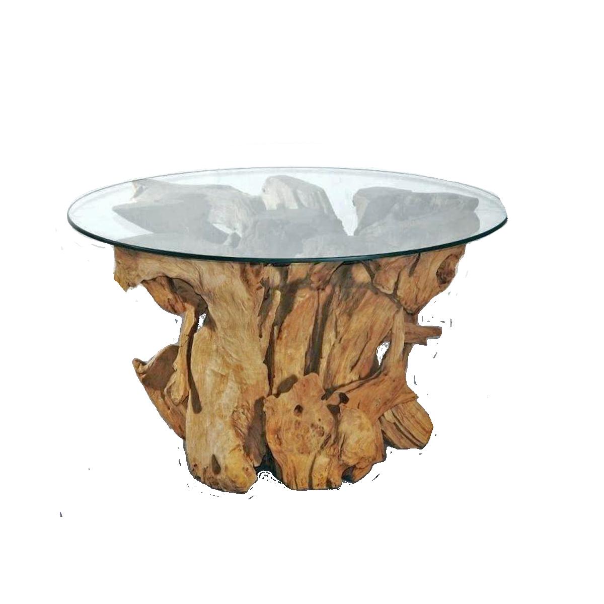 Großer Couchtisch no. 40 Wurzelholz mit Glasplatte Massivholzmöbel
