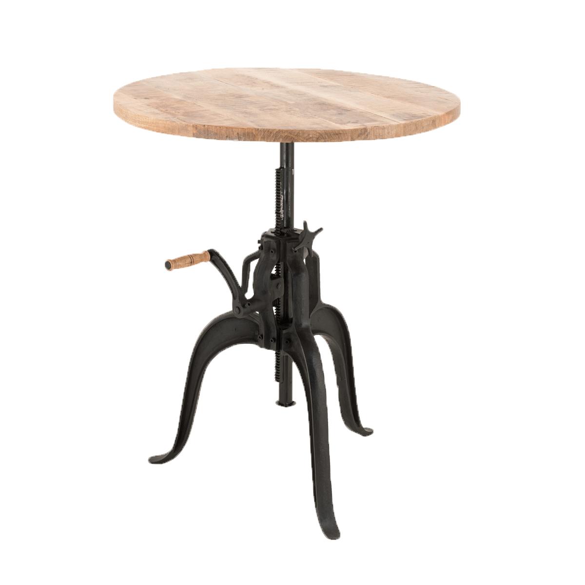 Industrial Chic Esstisch Tisch Massivholz Mango rund verstellbar
