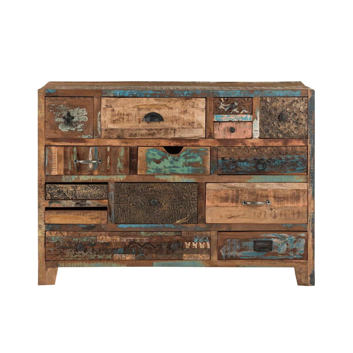 Kommode Reclaim no.2 aus recyceltem Holz mit Schubladen im Shabby Chic