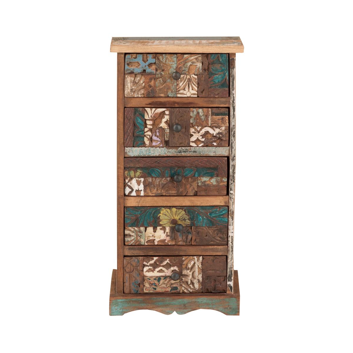 Kommode Reclaim no.4 mit Schubladen aus recyceltem Holz im Retro-Look