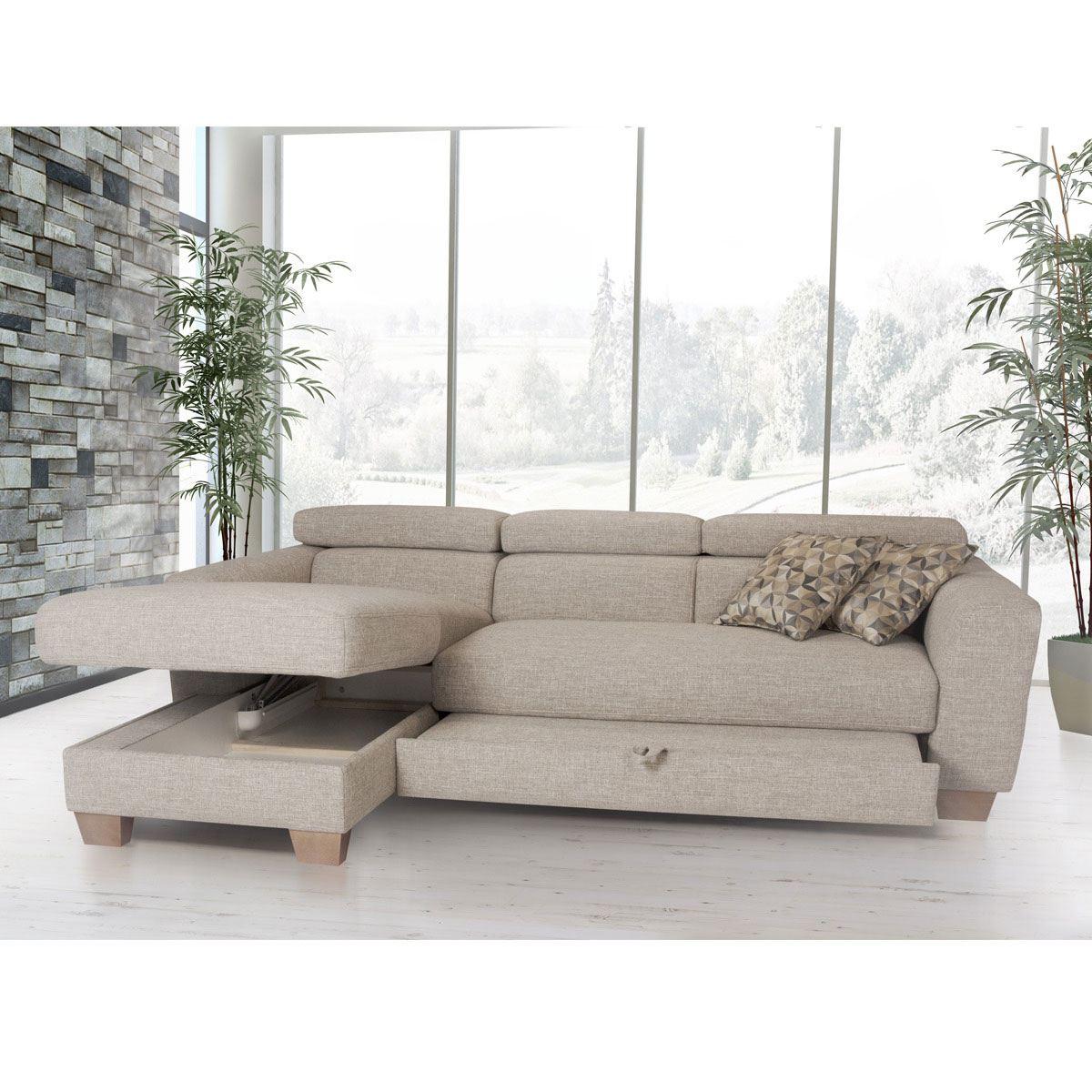 Schlafsofa Stockholm mit großer Liegefläche Bezugfarbe grau-beige