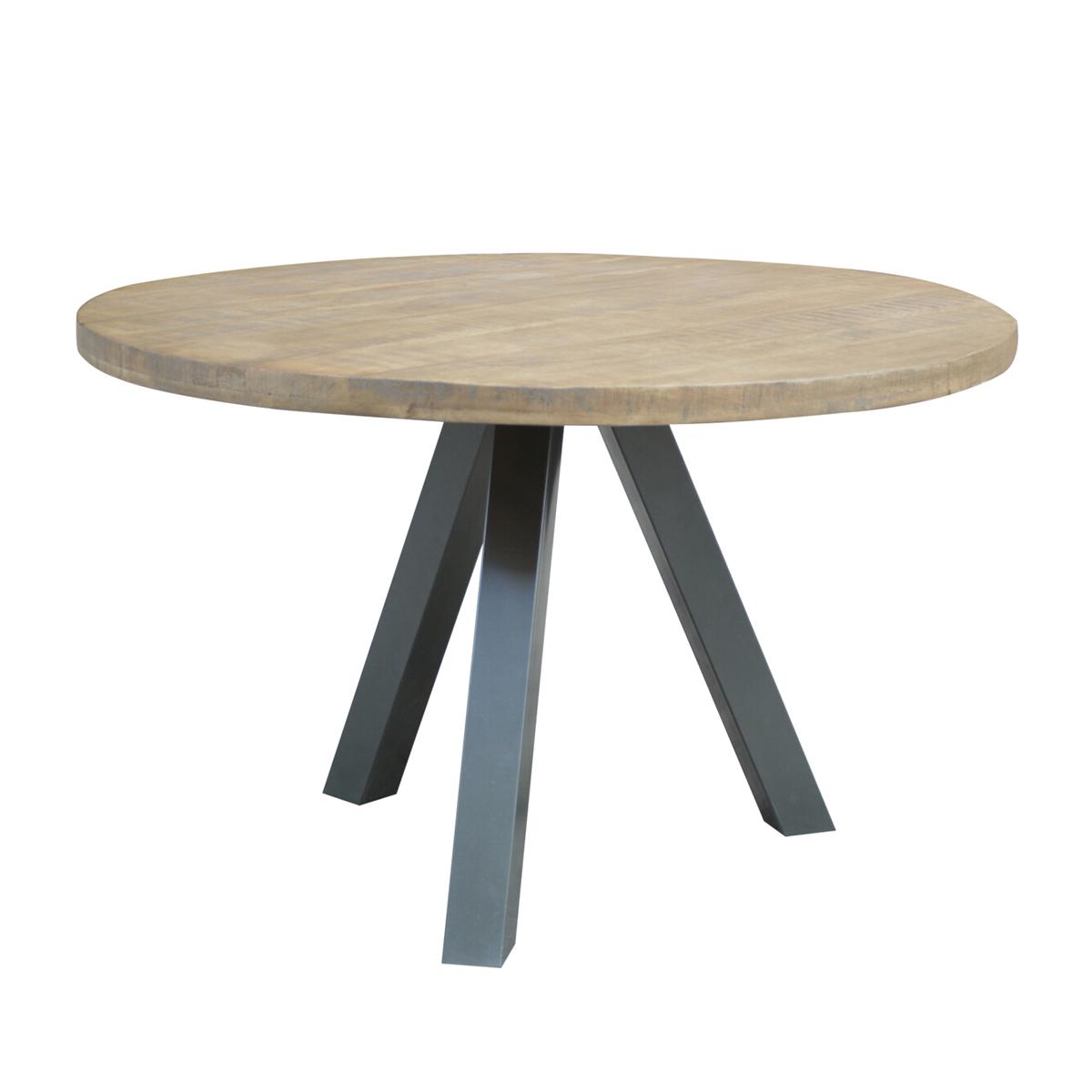 Runder Esstisch Tischplatte aus Mangoholz Beine Metall antiksilber