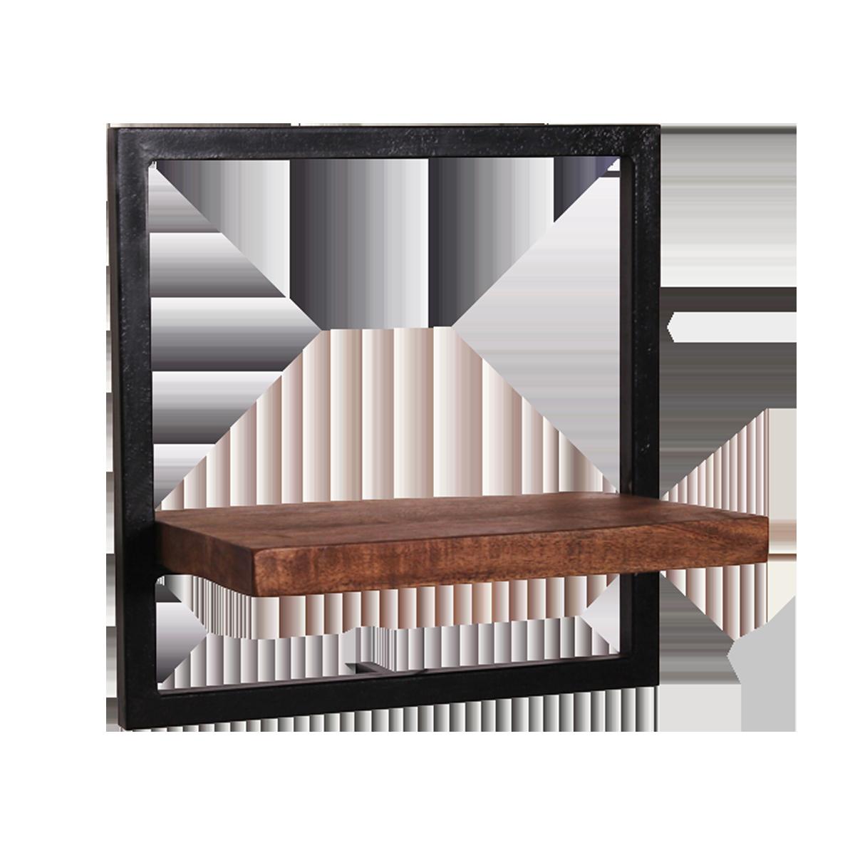Modernes Wandregal Ablage Aus Mangoholz Rahmen Metall Antikschwarz