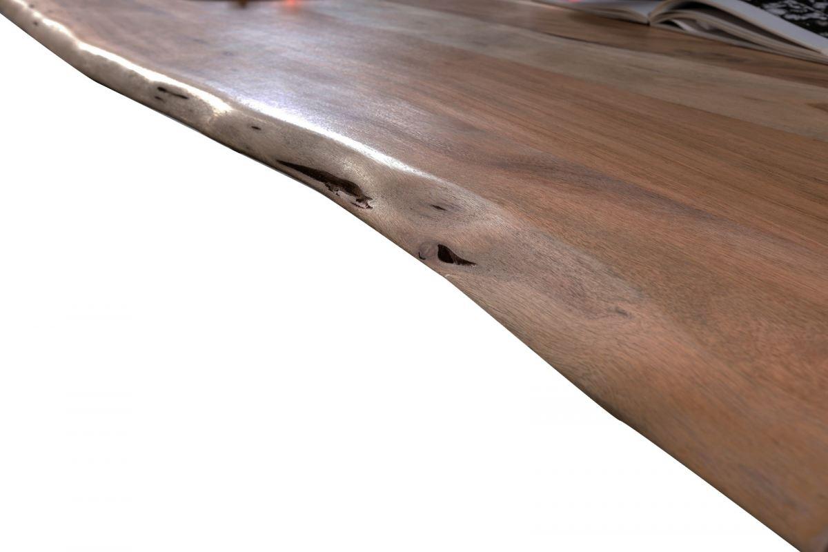 Esstisch ca. 140 x 80 cm Tischplatte Holz mit Baumkante nußbaumfarbig