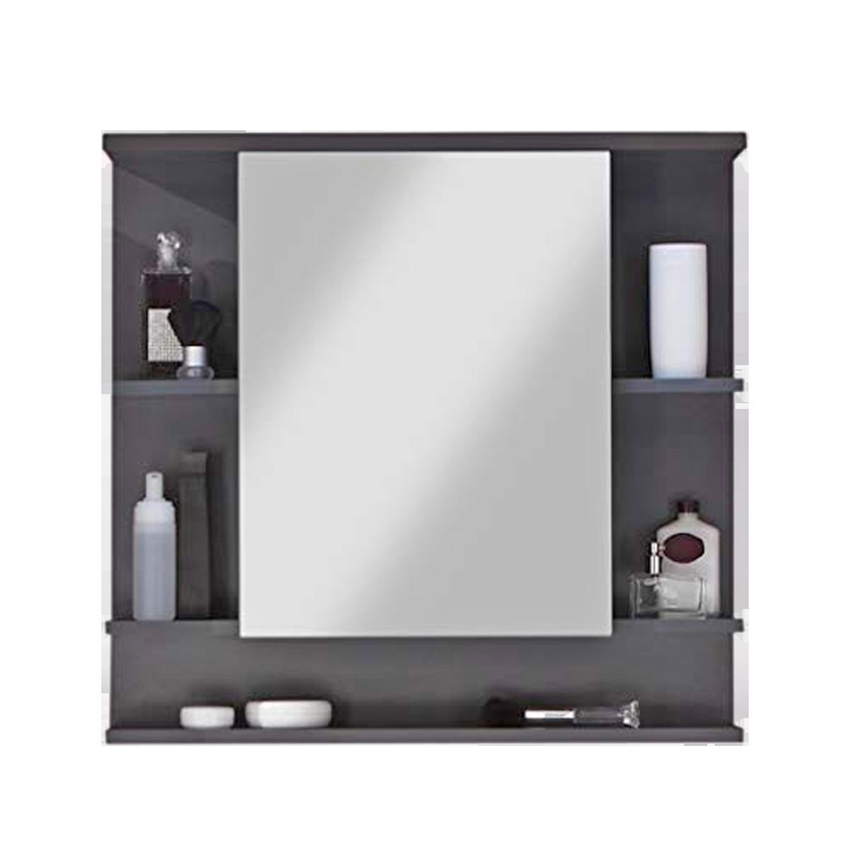Trendteam Tetis Badmöbel Spiegelschrank mit offenen Fächern Korpus Grau