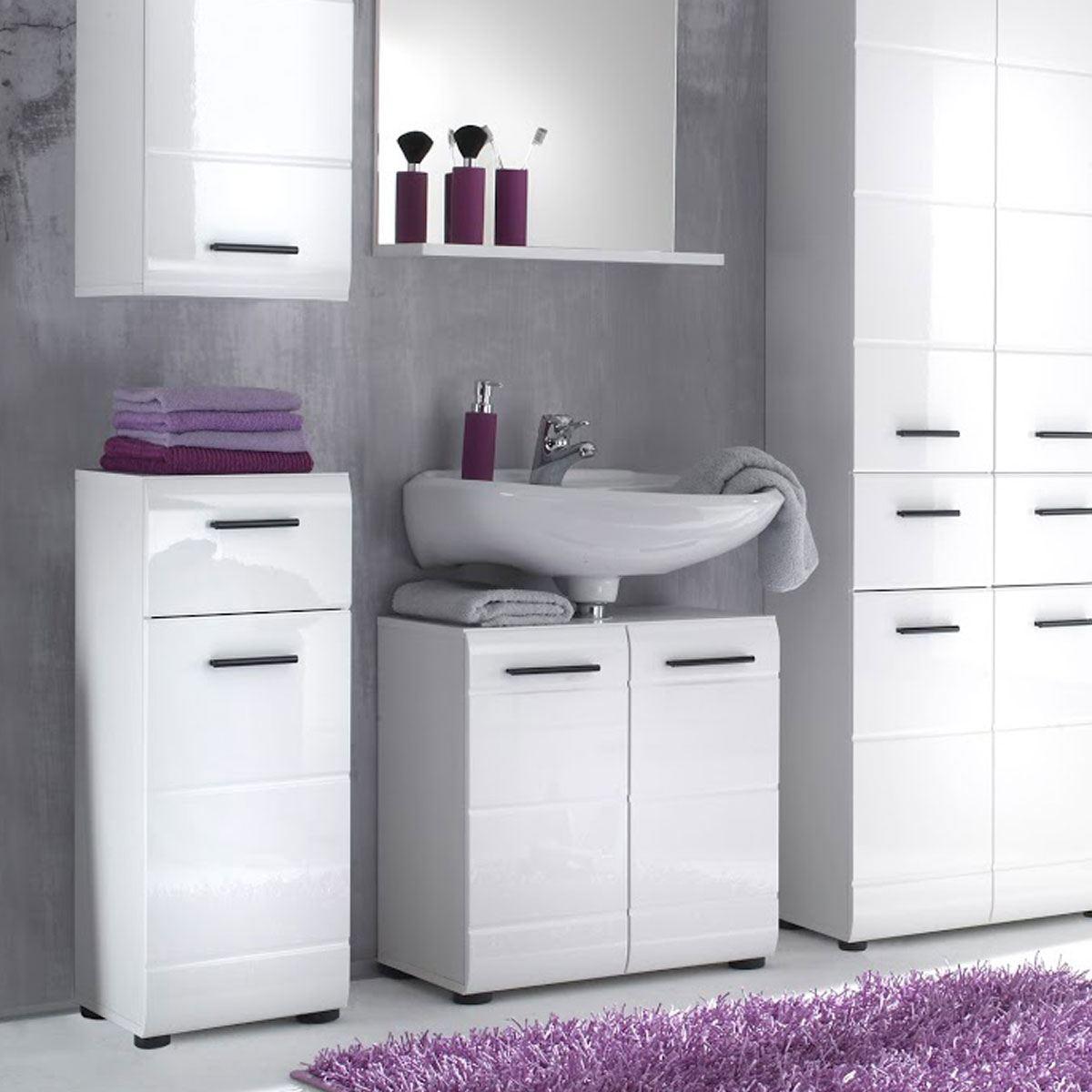 Trendteam Skin Kommode Dekor Weiß Hochglanz moderne Badezimmermöbel